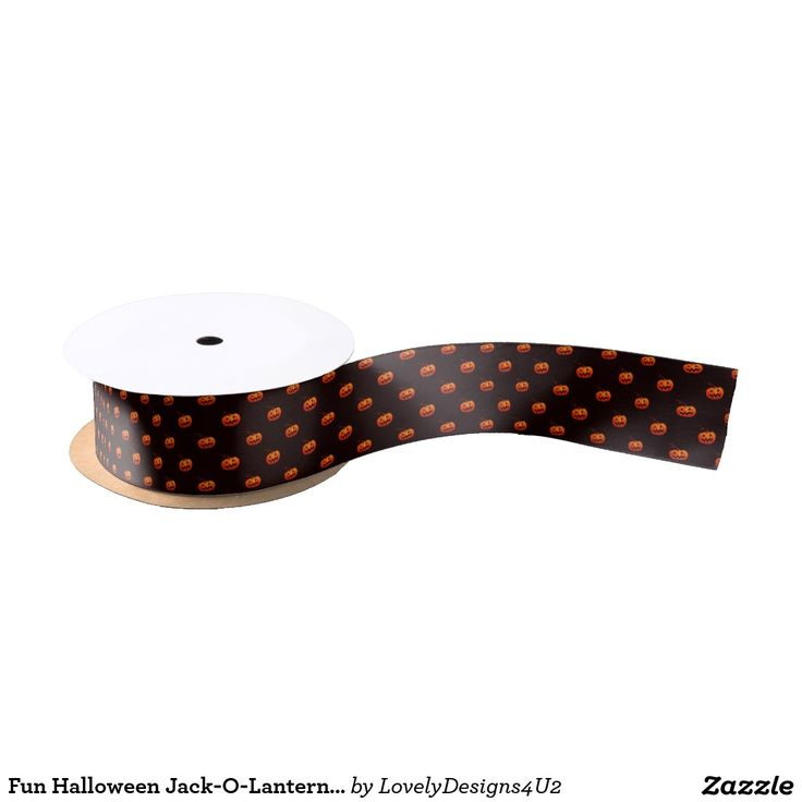 Fun Halloween Jack-O-Lantern Pattern Satin Ribbon