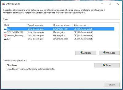 Deframmentare Windows 10 senza problemi