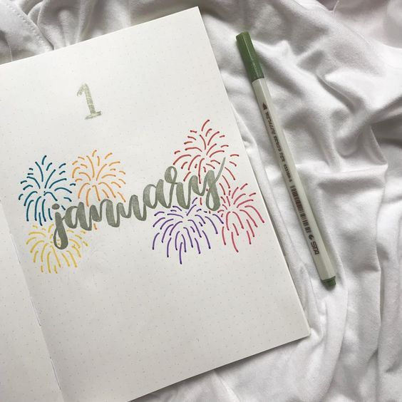 Bullet journal monthly cover page, January cover page, New Years drawing, fireworks drawing. @studydvcky