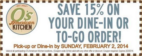 Get 15 percent on dine-in or to-go orders at Pat and Oscar's with coupon through February 2. Visit Best Free Stuff Guide to know more. http://www.bestfreestuffguide.com/Free_Pat_and_Oscar%27s_Coupons