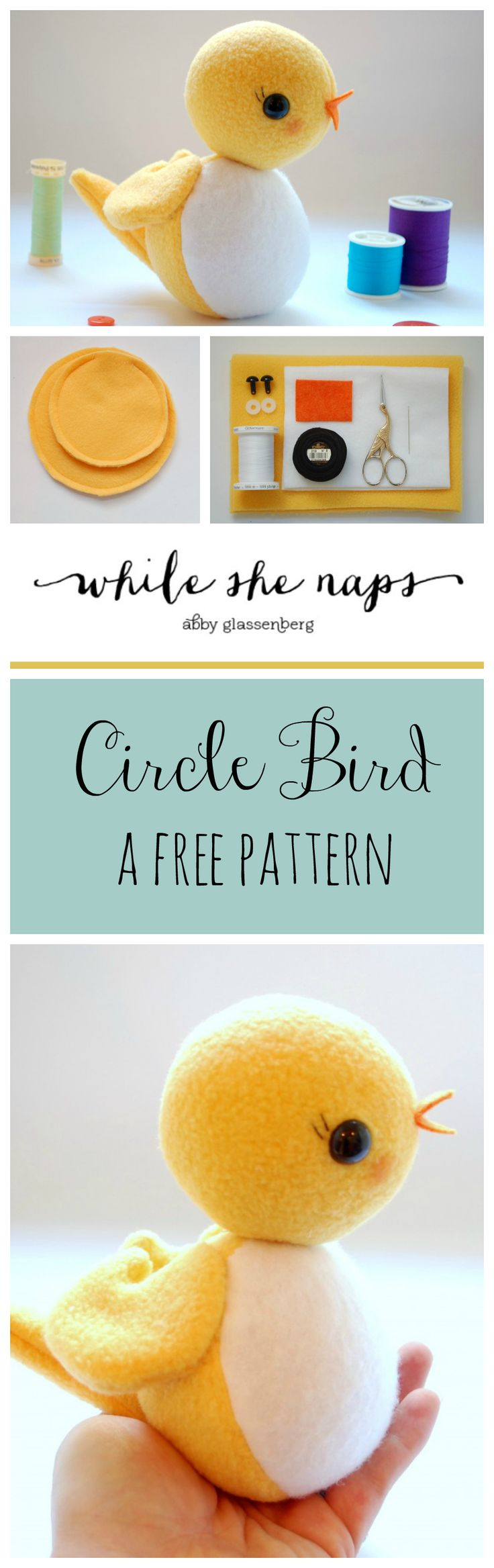 Cute free bird softie pattern. Easy and fun to make!