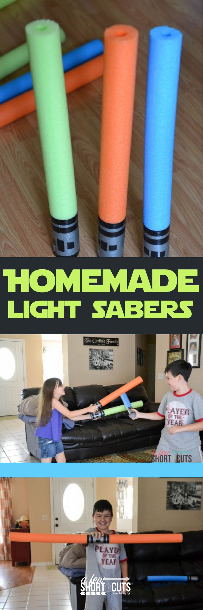 Amazing party favor or just a way to have some summer fun! Try this frugal Homemade Light Sabers craft with your little Star Wars fans.