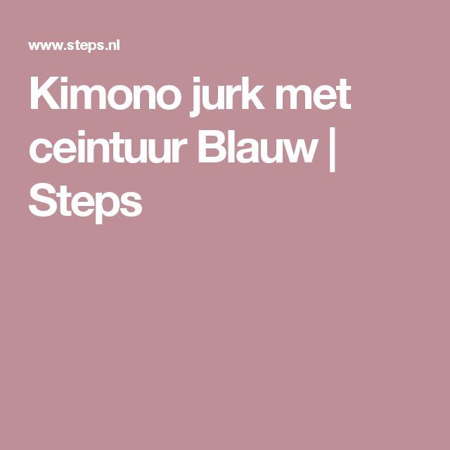Kimono jurk met ceintuur Blauw | Steps