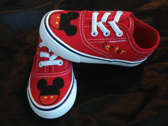 Mickey Mouse Inspired Shoes by MonkeymouDesigns on Etsy, $20.00