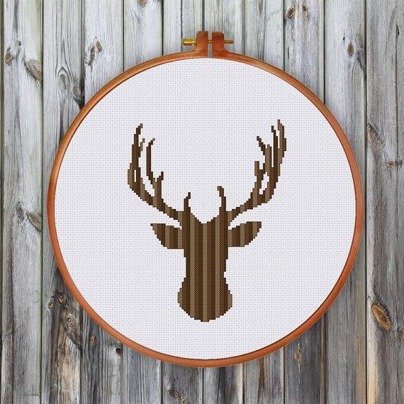 Striped Deer Head small cross stitch pattern Modern by ThuHaDesign
