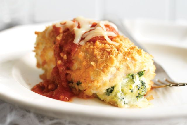 Chicken Parmesan is even more delicious when it's turned inside out and wrapped around a melty cheese center.