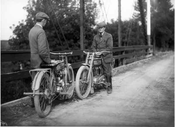 1913 — Harley-Davidson founders and childhood chums Walter Davidson & William Harley. So it turns out that Walter Davidson was a prolific world traveler, preferably by motorcycle and train.