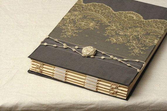 Custom Photo Album, Wedding Memory Book,  Glassine Paper, Slate Gray or Black and Ivory, Antique Alencon Lace