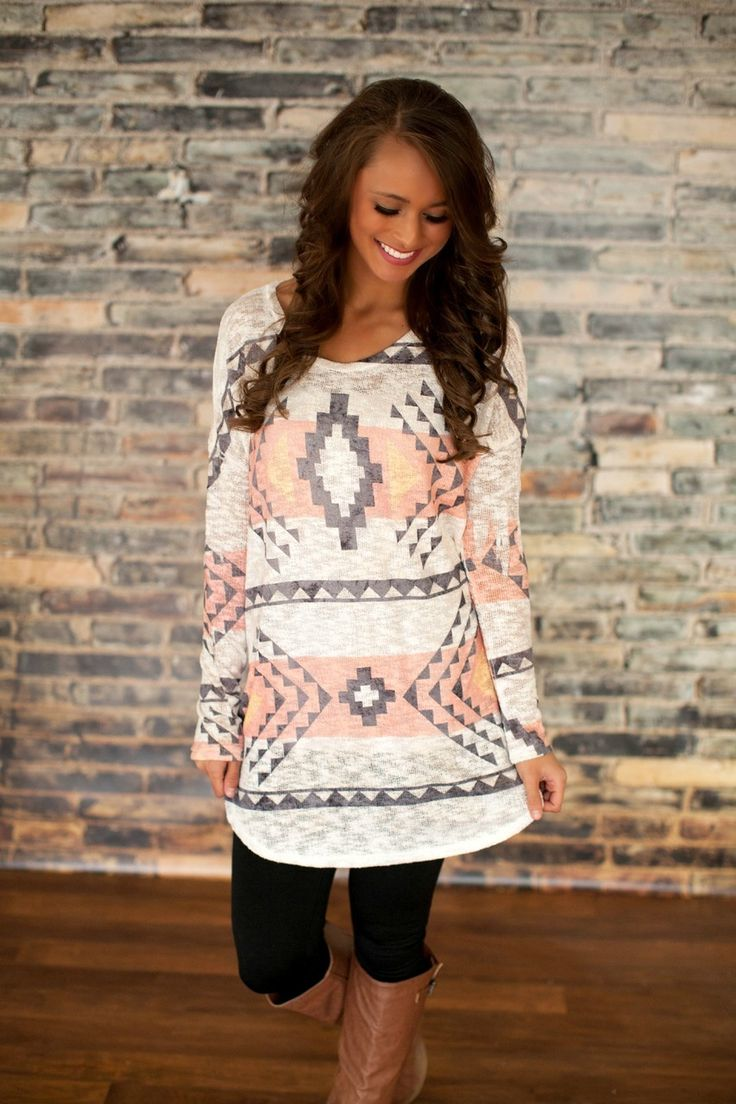 The Pink Lily Boutique - Coral Aztec Knit Tunic, $34.00 (http://thepinklilyboutique.com/coral-aztec-knit-tunic/)