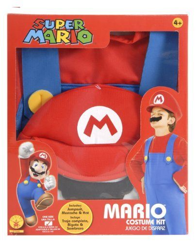 Rubies Super Mario Brothers Child's Costume Box Set by Rubies. $24.22. Look for other Super Mario Bros. costumes and accessories from Rubies. Boxed Mario costume. A perfect no-fuss Mario costume. Includes jumpsuit, hat, and moustache. Officially licensed Super Mario Bros. costume. From the Manufacturer                Rubie's Costume Company has been bringing costumes and accessories to the world since 1950. As the world's leader we take seriously the mission to make dressing up ...