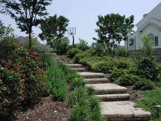 Landscape idea steps up the hill landscaping for Landscape ideas for hilly backyards