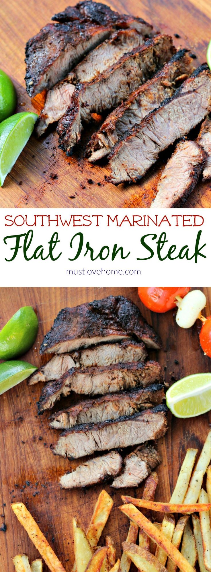 Marinated Southwest Flat Iron Steak - a melt in your mouth Flat Iron Steak that is grilled over high heat. A marinade including chili powder, brown sugar, and garlic is perfect for this cut of meat. Serve with an extra spritz of lime juice and fries!