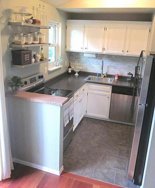 Small Kitchen Redo Half Wall Beside The Stove Would Be Perfect In Our Kitchen To Protect Against Hot Spills