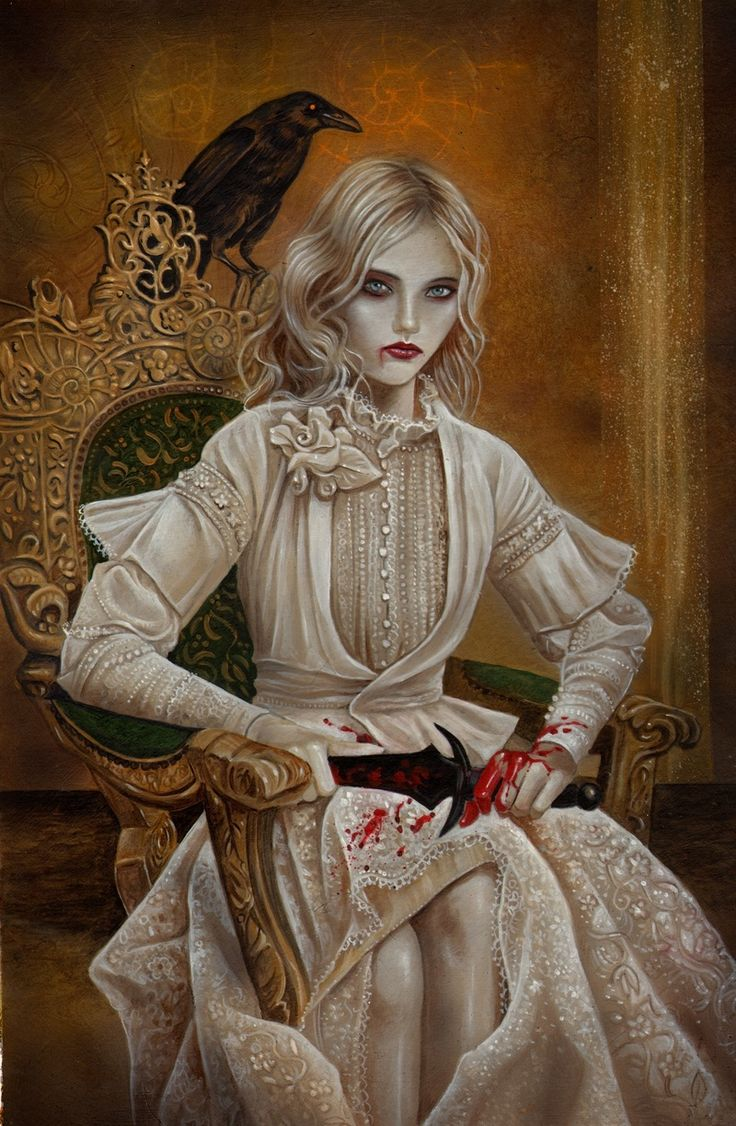 Queen of Knives (Swords) by Ian Daniels, author and creator of Tarot of Vampyres