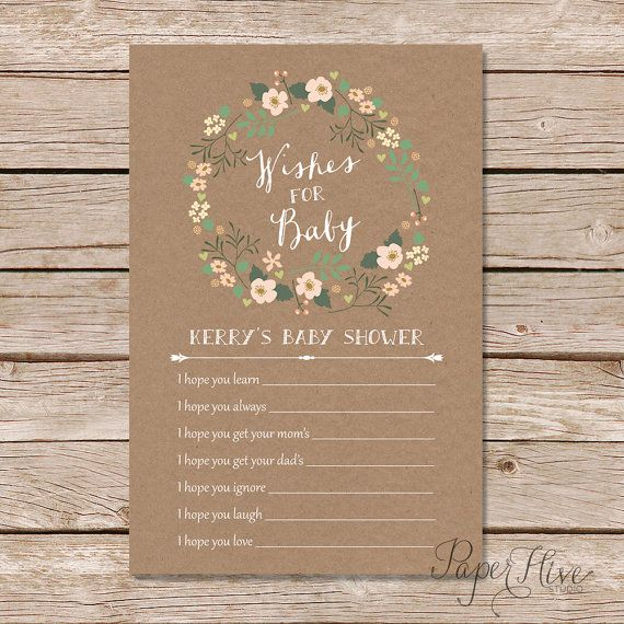 rustic baby shower wishes for baby card / bohemian baby shower ideas -- shabby chic baby shower card / floral wreath baby shower