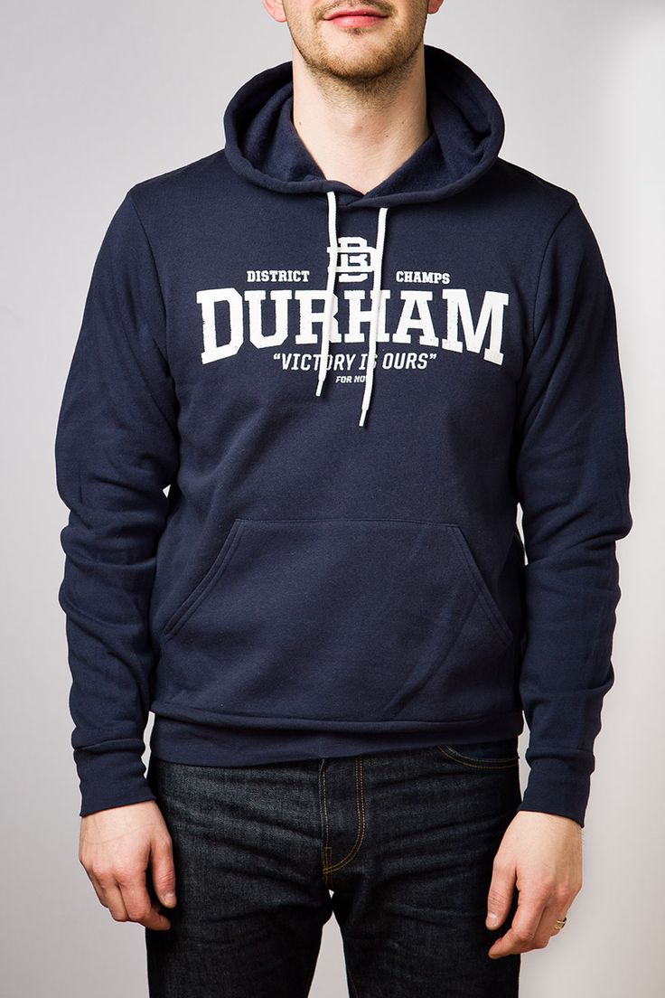 'No.1 District Champs' Navy hoodie. DB&Co. Small Batch Garments.