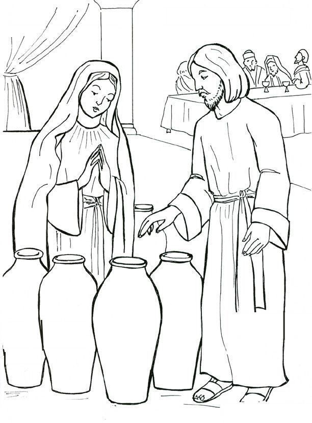 jesus at the wedding party coloring sheets | ... . Jesus and Mary at the wedding feast of Cana Catholic Coloring page