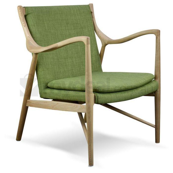 Replica Finn Juhl 45 Ash Wood Chair w/ Green Fabric | Buy Armchairs