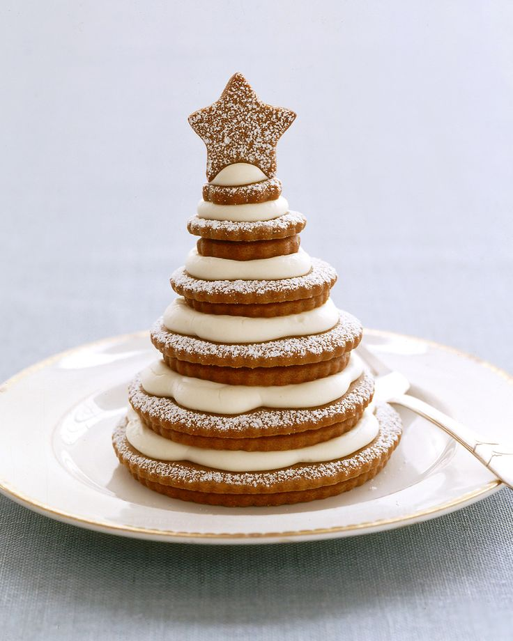 A dessert grows in your kitchen when you stack a series of ever smaller cookies to form a tannenbaum, and top it with a star-shaped cookie. Cream cheese frosting between pairs and confectioners' sugar dusted on top create a sweet snowfall.