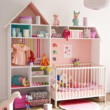 Meuble de rangement pour bébé en forme de maison en contreplaqué - Juste changer les couleurs