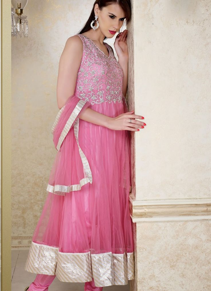Stately Pink Net Designed Anarkali Suit