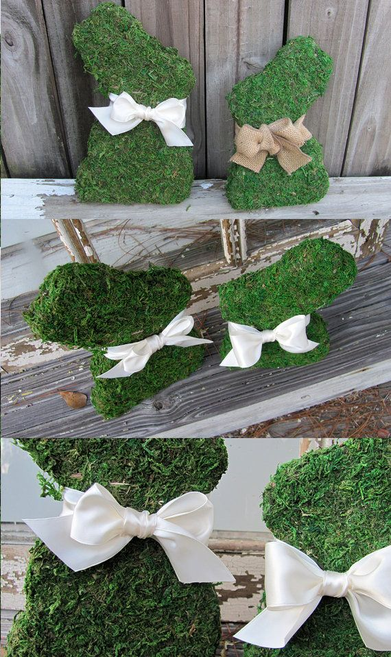 Moss Easter Bunnies - Two Wooden Moss Covered Bunny Rabbits - Home Decor, Easter Decorations