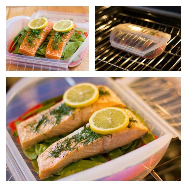 Lekue Food Steam Case Baked Salmon & Snow Peas