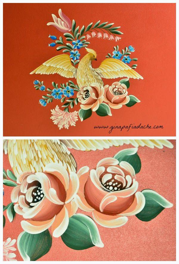 Atelier Gina Pafiadache: Pintando um risco completo - Pássaro com flores - Rosas - Parte 2 de 5