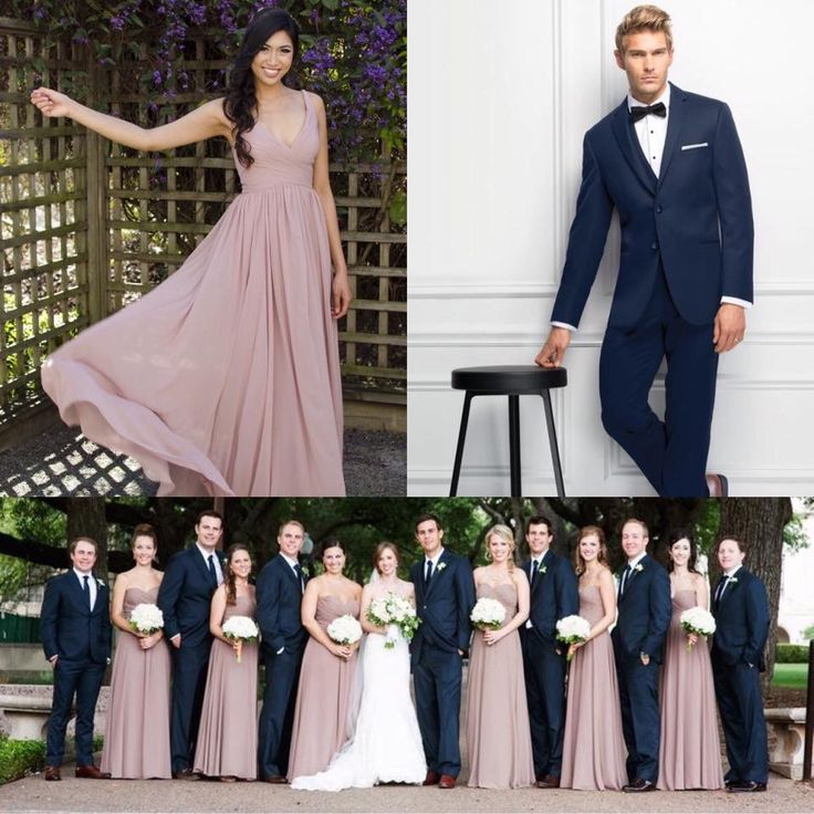 Navy Blue and Soft Dusty Pink make the best wedding party attire combo! You can now get this look at @sheacouturebridal Contact us for your tux rentals and bridesmaid dresses! #bridesmaids #weddingdressshopping #tux #bridalboutique #sheacouturebridal