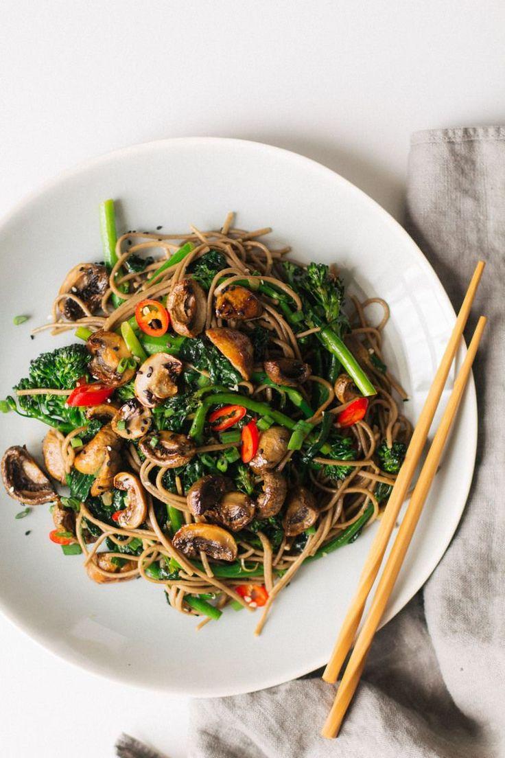 roasted teriyaki mushrooms and broccolini soba noodles — sobremesa   dairy free vegetarian recipes best shared