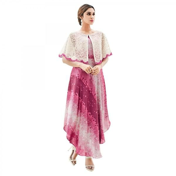 Partywear Pink Colored Japan Satin With Net Cape Style Western Kurtis #kurtis&kurtas #designer kurtis available at ladyindia.com