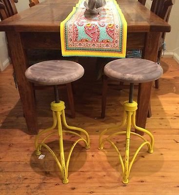 1 INDUSTRIAL RETRO VINTAGE DISTRESSED YELLOW WOODEN SEAT IRON STOOL BARSTOOL BAR AU $98.50