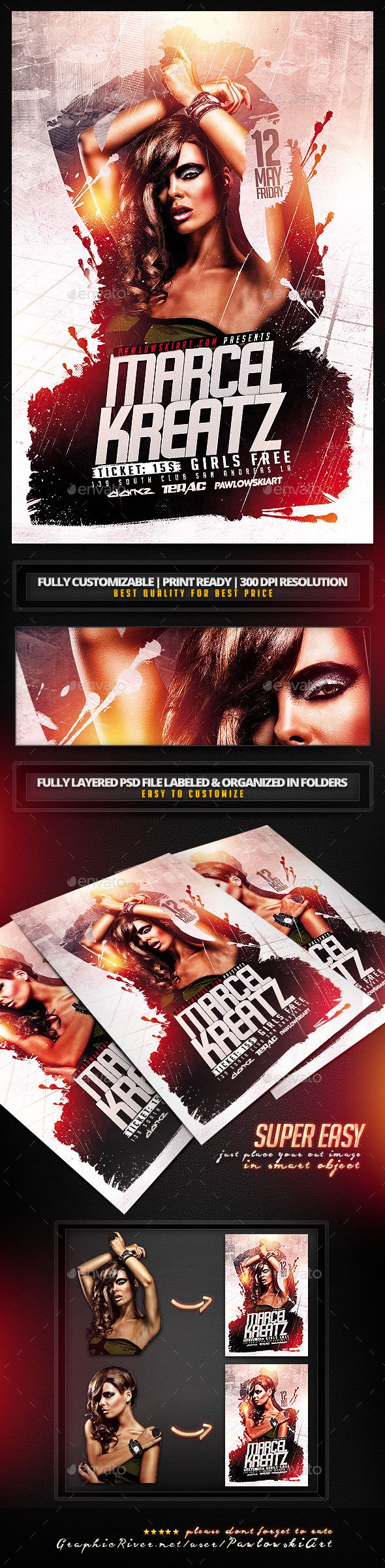 Electro House DJ v2 Flyer PSD Template - Clubs & Parties Events