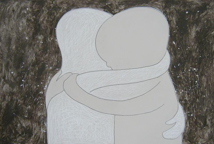 """andrea mattiello """"l'abbraccio"""", acrilico, grafite, pastello e cenere su tela cm 150x100; 2010 #andreamattiello #mattiello #arte #art #contemporaryart #italianartist #artista #artistaemergente #acrilico #tela #tecnicamista #acrylic #canvas"""