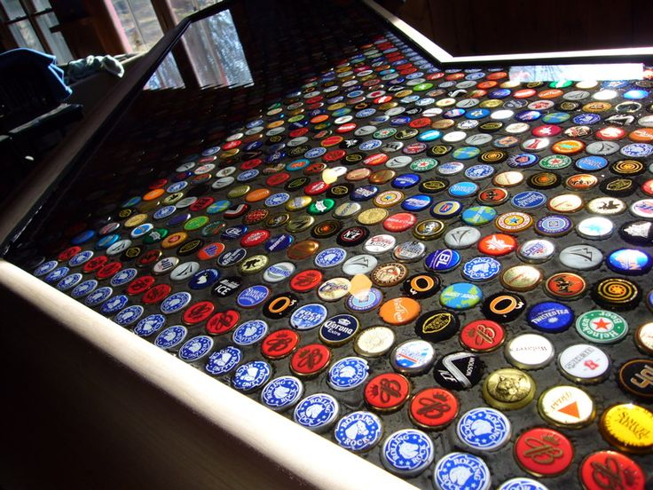 10 best recycled material images on pinterest home ideas for Beer cap bar top