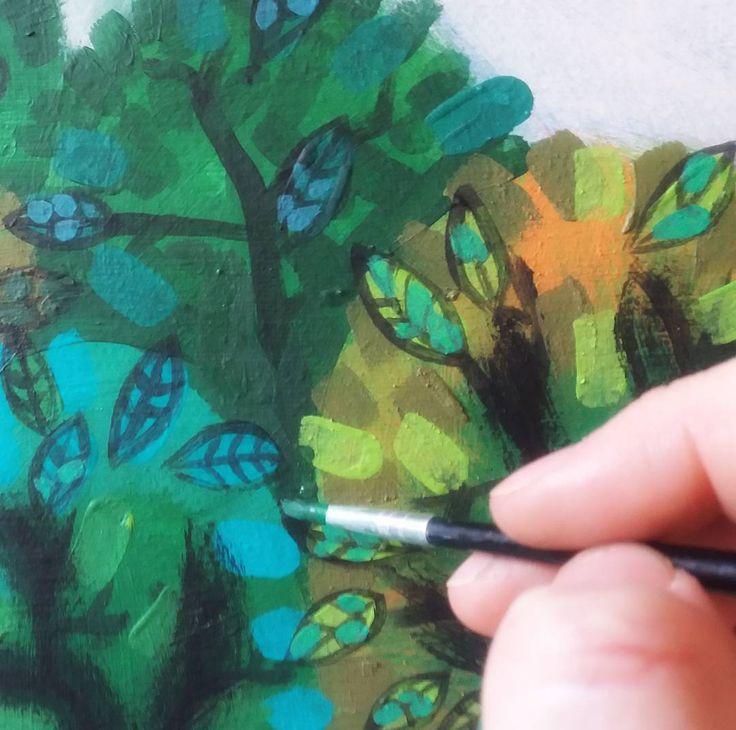 Painting in progress | Trees for children's art | Ansofie Jordaan Art | Paintings & Art Classes