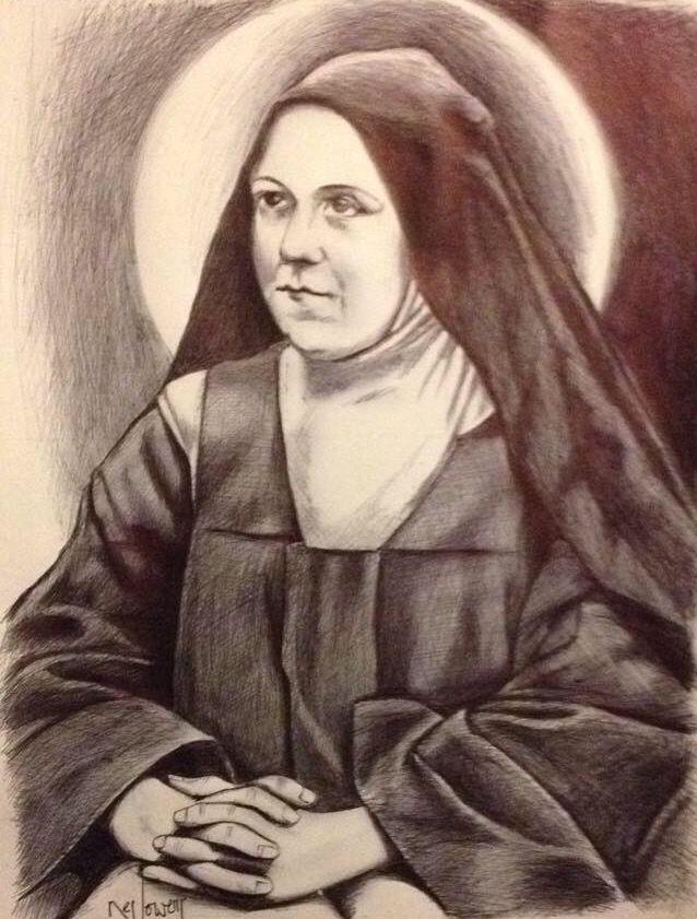Santa Teresita del Niño Jesús. Lapicero en papel.