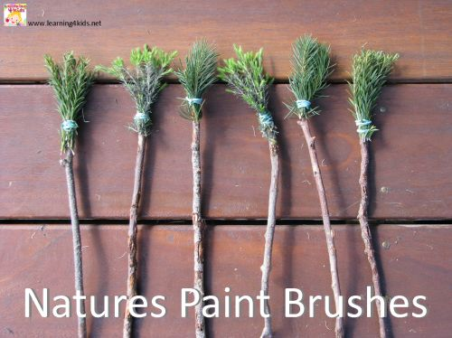 Textured Painting - Make Natures Paint Brushes with sticks, pine branches and string.