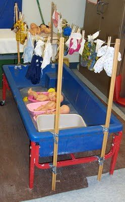 "Washing babies (and baby clothes!) in the water table. This actually fits well under ""dramatic play"" too. What a great idea to incorporate clothes washing too. Apparently it attracted both girls and boys. From Tomsensori."