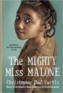 27 Books About Money for Kids: The Mighty Miss Malone, by Christopher Paul Curtis, chapter book, ages 9-12 years: It's the Great Depression in Gary, Indiana and jobs are scarce – especially for black men like Mr. Malone. After their father leaves Gary to find work, the rest of the family set out to catch up with him, including Deza who takes her family's difficult journey with stride, giving her the name Mighty Miss Malone.