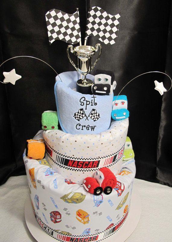 day nascar theme 3 tier topsy turvy diaper cake baby gift baby shower