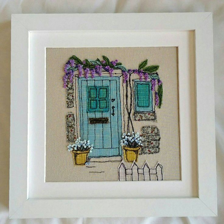 Handmade Wisteria Cottage Embroidered Picture. Ideal for New Home or retirement Gift. Freehand work from sketches, with French knot flowers by LillyBlossom on Etsy