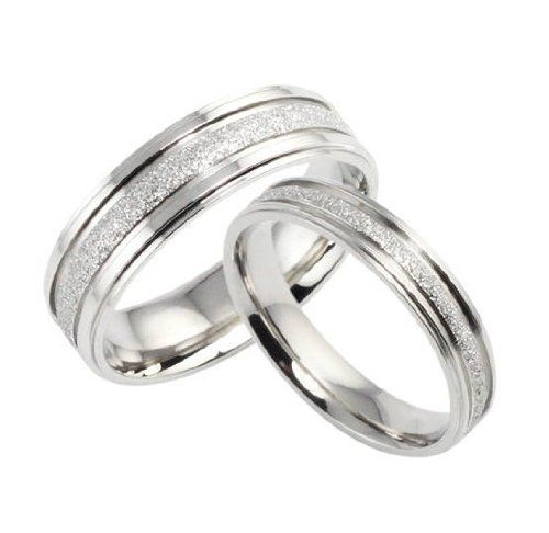 Stainless Steel Pearl Sand Couple Rings Set for Engagement, Promise, Eternity R013 (His Size 7,8,9,10; Hers Size 5,6,7,8).... for only $14.99