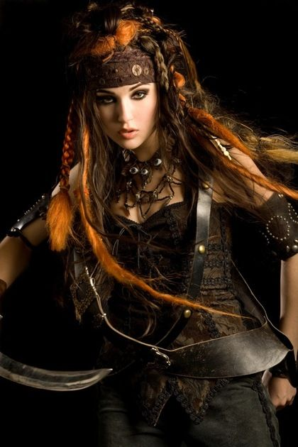 steampunk pirate - I like the hair... need to try to get close to this for this year's Halloween. :)