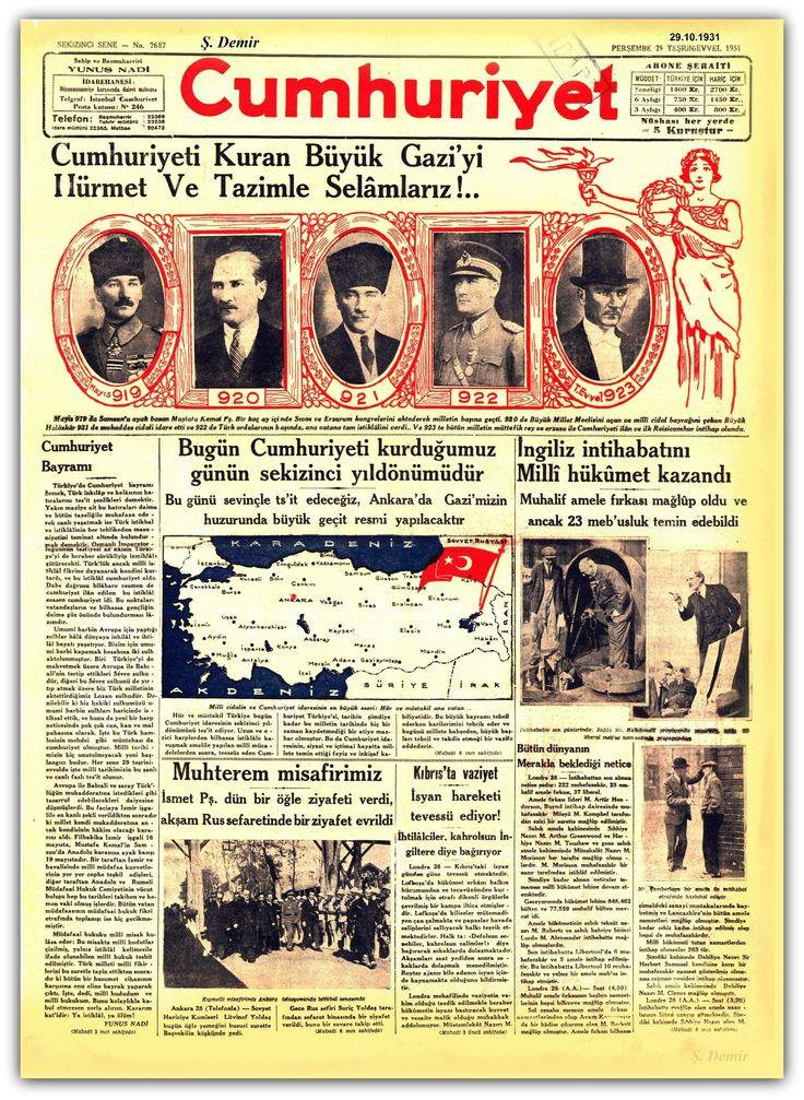 ATATÜRK - CUMHURİYET GAZETESİ 29.10.1931