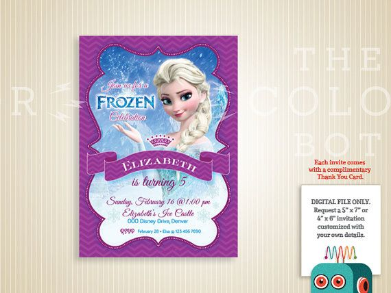 Frozen Birthday Invitation Elsa  Printable by TheColorBot on Etsy, $9.00