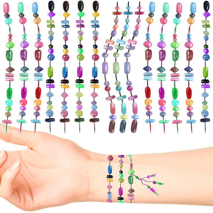 Bead Bracelet Tattoos #581 (39 pack + 5 Bonus Bead Tassels)