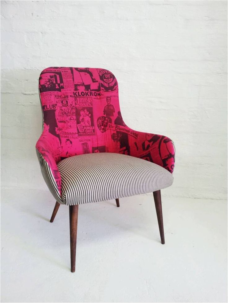 Retro lounge chair: re-upholstered in pink  and black&white stripes.