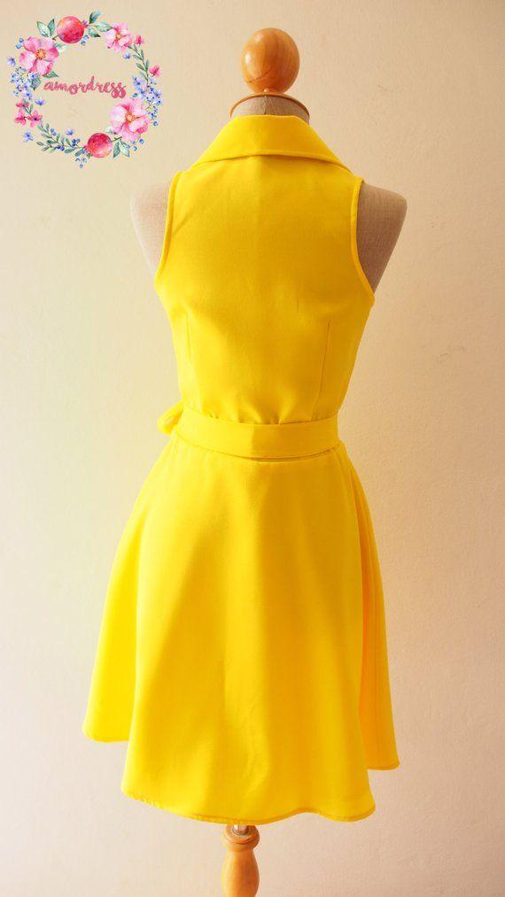 3c383acd9a DOWNTOWN Canary Yellow Dress Lemon Club Dress Yellow Shirt Dress ...