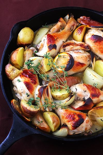 apple cider baked chicken with garlic, dijon, lemon, and yukon gold potatoes